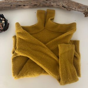 Anthropologie Cross Front Yellow Sweater